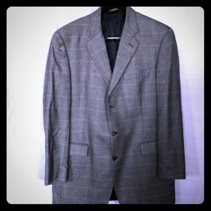 Jos. A Bank Windowpane jacket blue/brown/tan 43L